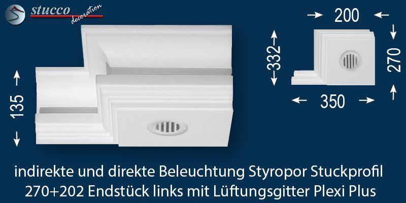 Endstück links mit Lüftungsgitter für direkte und indirekte Beleuchtung Essen 270+202 Plexi Plus