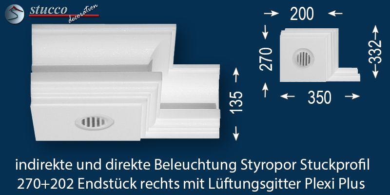 Endstück rechts mit Lüftungsgitter für direkte und indirekte Beleuchtung Essen 270+202 Plexi Plus