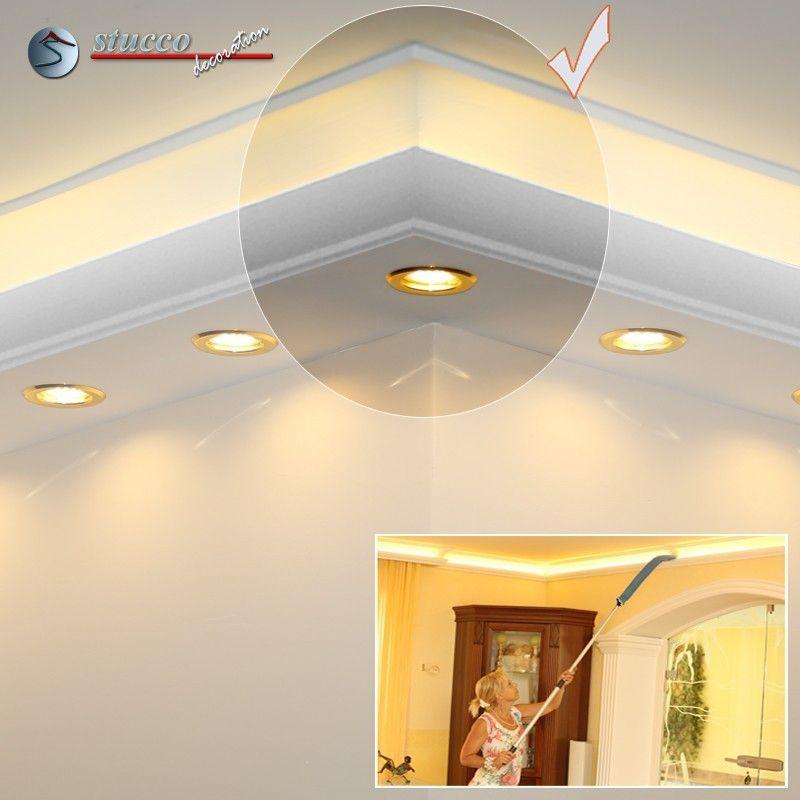 Äußeres Eckelement verbindet zwei Styroporleisten für direkte und indirekte Beleuchtung München 270+205 PLEXI PLUS
