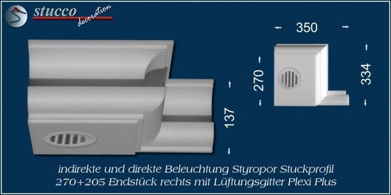 Endstück rechts mit Lüftungsgitter für direkte und indirekte Beleuchtung München 270+205 Plexi Plus