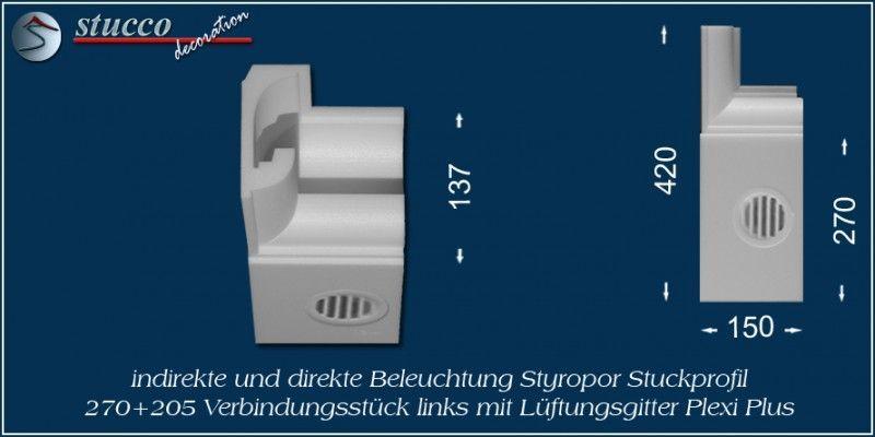 Verbindungsstück links mit Lüftungsgitter für direkte und indirekte Beleuchtung München 270+205 PLEXI PLUS