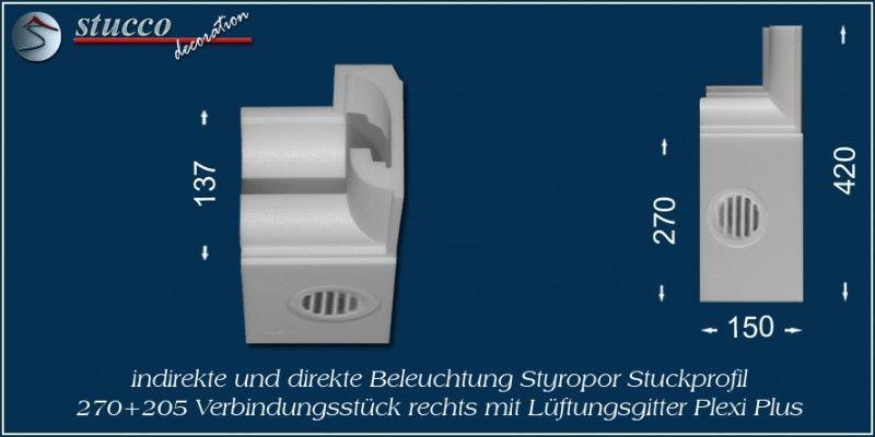 Verbindungsstück rechts mit Lüftungsgitter für direkte und indirekte Beleuchtung München 270+205 PLEXI PLUS