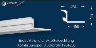 Stuckleiste für kombinierte Beleuchtung München 190+205