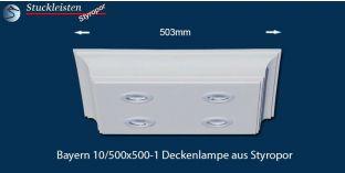 Bayern 10/500x500-1 Styropor Deckenlampe mit LED Spots