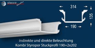 Stuckleiste für direkte und indirekte Beleuchtung Essen 190+2x202