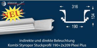 Stuckprofil für direkte und indirekte Deckenbeleuchtung Dortmund 190+2x209 PLEXI PLUS