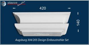 Augsburg 304/205 Einbaustrahler Set mit Stuck und LEDs - warmweiss