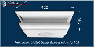 Mannheim 303/202 Einbaustrahler Set mit Stuck und LEDs - mehrfarbig RGB