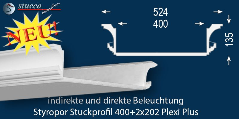 LED Stuckprofil 'Essen 400+2x202 PLEXI PLUS'