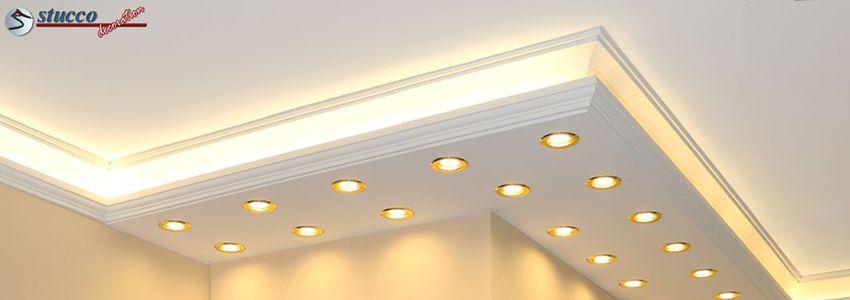 Kombinierte Stuckleisten für direkte und indirekte Beleuchtung